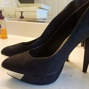 Rachel Roy suede heels with chrome accents